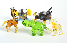Collection 5. 5 Mini Figurine Glass Elephant Figurine Hippo Giraffe Bull Owl