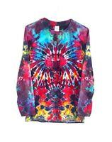 Long Sleeve T-shirt Tie Dye 90s Grunge Unisex Festival Hipster Hippy Rainbow Top