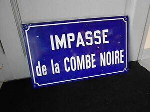 Vintage FRENCH Enamel  BLUE STREET SIGN :  impasse de la COMBE NOIRE