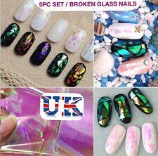 5pc x 20cm BROKEN GLASS NAILS SHELL EFFECT FOIL Art TREND Shattered UK SELLER