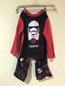 Star Wars Boy Flannel 2-pc Pajamas PJs Set Trooper Black Red Sz 6 NWT j1