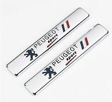 New 2Pcs Chrome Metal Peugeot Sport Car Emblem Badge Rear Side Fender Sticker