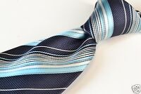 NWT Ermenegildo Zegna Blue Striped 100% Silk Tie $135