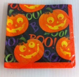 Hallmark - Pumpkin on Black Party Paper Napkins