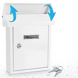 SereneLife SLMAB01 Indoor Outdoor Wall Mount Locking Mailbox with Window, White