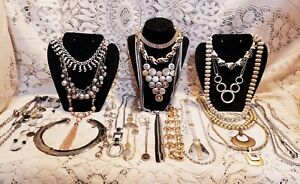 24 Piece Vintage and Modern Mixed Tone Necklace Lot - Trifari, Sarah Coventry