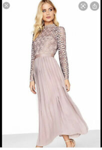 little mistress asos wedding crochet promball Pleated midi/maxi dressSize 10