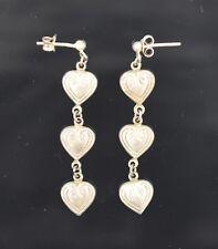 Vintage Sterling Silver 925 Puffy Heart Dangle Earrings