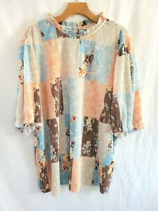 Womens  Plus Size Cato Est 1946 Printed Pleated Peasant Top  26/28W 3X NWT