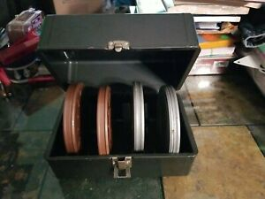 """4x 5"""" Relflex & Kenco 8mm Film Reels with Canisters, Film & Metal Storage Case"""