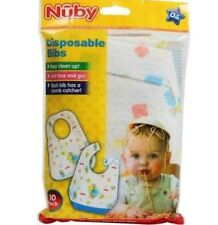 Nuby Disposable Paper Adhesive Strips Baby Feeding Bibs 10 Packs X1