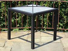 "Patio Outdoor Garden Wicker Dining Square 31"" Table w/ Glass"