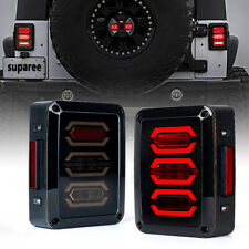 For 07-18 Jeep Wrangler JK JKU Tail Lights Rear Brake Lights LED Smoke Lens