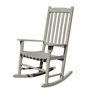Northbeam Solid Acacia Hardwood Outdoor Patio Slatted Back Rocking Chair, Grey