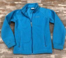 Columbia Youth Boys Girls Full Zip Fleece Jacket Boy's Sz M 10/12 Turquoise