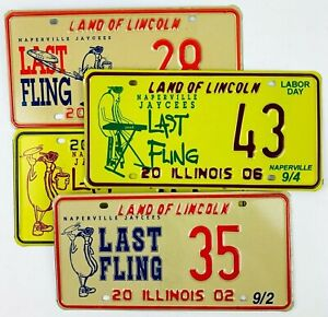 Hot Dog License Plates Lot of 4 Summer Decor Man Cave Wall Gift Special Event IL