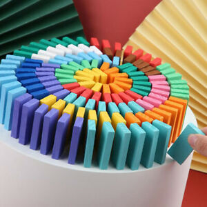 120Pcs Kids Color Sort Rainbow Wood Domino Kits Educational Toys DominoesJ jbCA