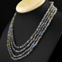HAND MADE 277.00 CTS NATURAL UNTREATED 4 LINE LABRADORITE FACETED BEADS NECKLACE