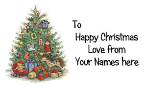 42 X Personalised Labels Stickers Gift Tags Presents  🎅 CHRISTMAS TREE #3