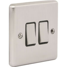 NEW Wessex Brushed Stainless Steel Switch 2 Gang 2 Way UK SELLER, FREEPOST