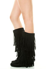 Womens Faux Suede 4 Tiers Fringe Tassel Mid Calf Tall Flat Boot Moccasin Moc Toe