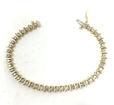 "14K Yellow Gold Diamond Tennis Bracelet 7"" S Link 11g"