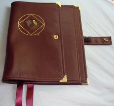 Deluxe Narcotics Anonymous NA Basic Text How & Why Leather Book Cover Burgundy