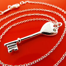 Fsa975 Real 925 Sterling Silver S/F Diamond Simulated 21St Key Pendant Necklace