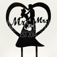 Mr & Mrs Love Heart Acrylic Wedding Day Cake Topper Silhouette Bride & Groom