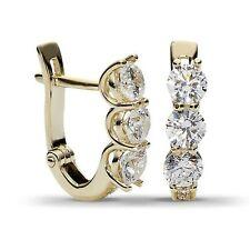 14Carat Yellow Gold Over Round Cut Diamond Small Huggie Hoop Earrings