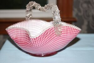Stevens & Williams Pink/White Candy Striped Square Glass Basket w/ Thorn Handle