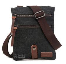 Men's  Canvas Leather Travel Military Messenger Shoulder Hiking Sling Bag Small