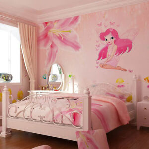 HOT Cute Large Pink Fairy Princess with Butterly Decals Art Mural Wall Stickers