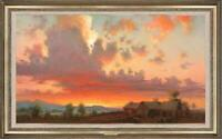 "Hand-painted Original Oil painting art Landscape Sunset on Canvas 24""X40"""