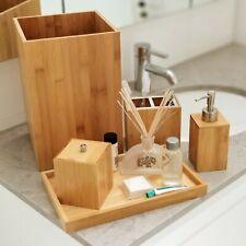 Deluxe 5 Piece Bamboo Bathroom Accessories Set Luxury Vanity Accessory Set