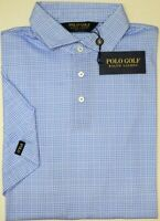 NWT $98 Polo Golf Ralph Lauren Short Sleeve Shirt Mens Blue Plaid Cotton
