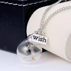 Handmade Dandelion Dried Flower Glass Wishing Bottle Necklace Pendant Women Gift