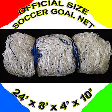 TWO OFFICIAL SIZE 24' x 8' White Color SOCCER GOAL NETS NETTING