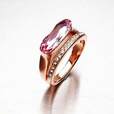 ROSE CRYSTAL -  Stainless Steel Ring for Women - Gold Plated Size O