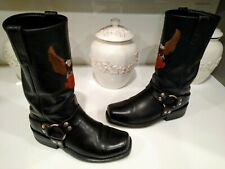 Harley-Davidson Men's Darren Eagle Black Leather Motorcycle Boots Very Clean