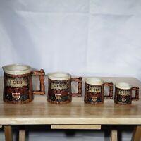 Vintage 4 Mug Measuring Cup Set Rare Design - Ceramic