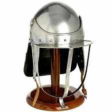 English Civil War Mini Size Lobster Pot Helmet On Wooden Stand Naseby Edge Hill