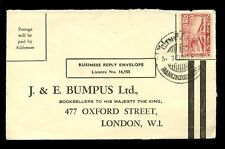 THAILAND 1925 BUSINESS REPLY ENVELOPE USED to J + E BUMPUS LONDON