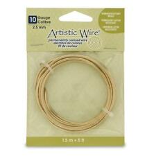 Artistic Wire 10 Gauge Wire, Tarn Resist Brass, 5-Feet, New, Free Shipping