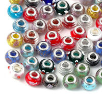 100 Lampwork Glass European Beads Rondelle Cores Large Hole Loose Charms 13~15mm