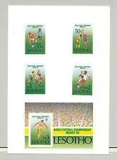 Lesotho #521-525 World Cup Soccer 4v & 1v S/S Imperf Proofs on Card