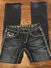 ROCK REVIVAL Girls Women's size 28 X 34 Eugenia Boot Dark Wash Jeans