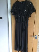 Stunning Black And Sequin Frill Long Evening Dress. Size 20