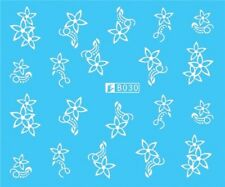 Nail Art Stickers Water Decals Transfers White Mono Design Flowers (B030)