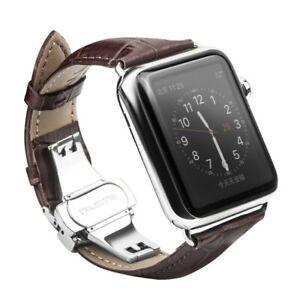 Armband für Apple Watch Series 6/SE/5/4/3/2/1 Leder Band 42/44mm Faltschließe